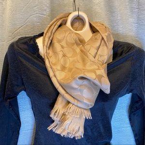 Coach Signature C Logo wool/silk blend scarf/wrap
